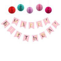 ingrosso bandiere appesi a compleanno-Happy Birthday Banners Paper Ghirlanda Pompon Hanging Bunting per bambini Birthday Party Favors String Flags Baby Shower Party Decor