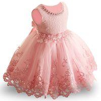 tutú de cumpleaños de princesa al por mayor-Flower Toddler Baby Girl Infant Princess Dress Baby Girl Wedding Dress tutu de encaje Vestidos de fiesta para niños para el 1er cumpleaños Y18102007