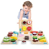 Wholesale wooden vegetables toys for sale - Kids Wooden Toy Kitchen Cut Fruits Vegetables Dessert Board Cooking Toys Educational Teaching Children Intelligence Toy Party Favor AAA1265