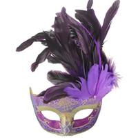 cadılar bayramı için büyüleyici kostümler toptan satış-Venedik Cadılar Bayramı Kostüm Masquerade Maske Tüy Flaş Tozu Ile Büyüleyici Yarım Yüz Maskesi Parti Için