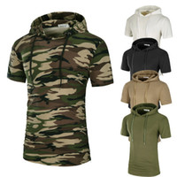 Wholesale mens hooded t shirts - Men Longlines T Shirt Solid Camouflage Printed Mens Cotton T Shirts Short Sleeve Hooded Tee Homme High Street Wear