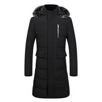 ingrosso giubbotto nero rivestimento volpe-New Winter Hooded Men Down Parka Coat Solid Fox Fur Collar Slim Giacche da uomo X-long Nero / Blu / Army Green Plus Size XXL 3XL