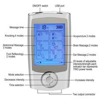 dez portátil venda por atacado-Digital 16 Modos de Pulso Elétrico Portátil DEZENAS EMS Massageador Máquina de Tela LCD + 16 Modos de Terapia + Dupla Ferramenta de Massagem de Saída