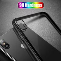 casos do telemóvel do iphone do metal venda por atacado-Luxo 9 H Dureza Vidro Temperado Phone Case para iPhone 7 8 X 6 S Plus Slim Voltar TPU PC Celular Casos Capa