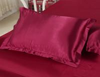 fronhas brancas roxas venda por atacado-Sólido (2 pçs / lote) de Seda-Como Luxo Fronha Capa de Cama Padrão Único Fronha Liso Fronha Branco / Cinza / Rosa / Roxo 48 * 74 cm