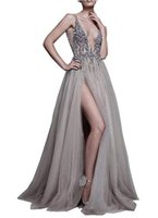 Wholesale white party sex for sale - Long Party Prom Dresses Sexy Deep V Neck Sequins Tulle and Lace Sex High Split Long Evening Dresses