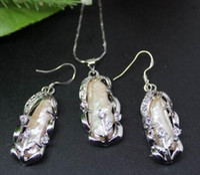 Wholesale Beaded Choker Black - Fashion Jewelry Natural Pink Biwa Pearl Pendant Necklace Earrings A Set