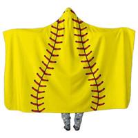 Wholesale cosplay cloak hoodies online - Baseball Football Sherpa Towel Fleece Blanket Sports Hooded Cape Beach Bath Towels COSPLAY Cloaks Unisex Hoodie Swadding Blankets DHL FREE