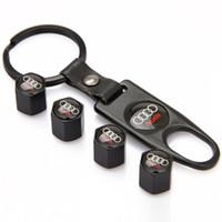 Wholesale Keychain Audi - 4Pcs Lot Black Universal Wheel Tire Valve Stem Air Caps Covers with Keychain Accessories Decoration for AUDI
