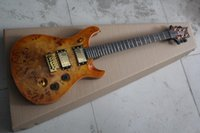 Wholesale Custom Veneer - Custom Shop Guitar Golden Hardware Single shake bridge Burl veneer lines Electric Guitar