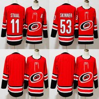 Wholesale hockey jersey blank black - 2018 New Style Carolina Hurricanes Hockey Jerseys 20 Sebastian Aho Home Red Blank 11 Staal #53 Jeff Skinner Stitched Jersey Free Shipping