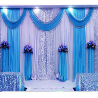 Wholesale wedding swags for sale - Customized Satin Wedding Backdrop Curtains Gold Swag Satin party background drape curtain wedding decoration ftX10ft X3m