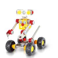 Wholesale metal train sets - 3D Assembly Metal Engineering Vehicles Model Kits Toy Transform Truck Man Robot Intelligence Building Construction Play Set Gift 9 1sj W