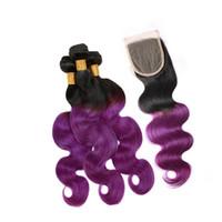 lila farbe menschenhaareinschlagfaden großhandel-Dunkle Wurzel-Körper-Wellen-gelockte Menschenhaar-Einschlagfaden-Erweiterung mit Spitze-Schließung 4x4 Ombre Farbe 1B purpurrote Haar-Bündel mit Spitze-Schließung