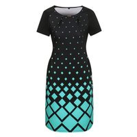 Wholesale office gowns - 6XL Fashion Women Dresses Summer Big Loose Spring Plus Size Women Clothing Dress Casual O-neck Plaid Office Party Bodycon Dress