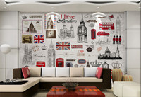Wholesale Poster Printing London - Custom Wall Mural European Retro London 3D Poster Murals Wallpaper Living Room TV Background House Decoration Wall Paper Mural