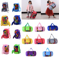 Wholesale backpack tote bags - Kids Mesh beach bag shell bag Pouch Tote portable Folding Toys Storage Bags toys kids sandboxes Backpack D24*H48cm FFA188 12PCS 16styles