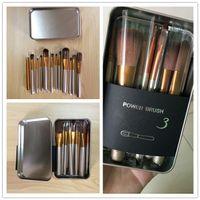 Wholesale Metal Shadow Box - New Hot makeup 12 Pcs set brush NUDE 3 Makeup Brush kit Sets in metal box for eye shadow blusher Cosmetic Brushes TooL fast Shipping