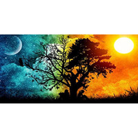 Wholesale abstract panel tree online - Fashion cm Cross Rectangle Stitch Sun Moon Tree Scenery Decorative Murals Artistic Round Diamond Paintings Hot Sale lx B