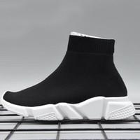 zapatillas altas amarillas al por mayor-Envío Gratis Kids Luxury Paris Speed Trainer Niños y Niñas Moda Stretch Mesh High Top Sneaker Knit Calcetines Calzado talla 24-35