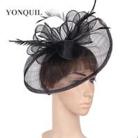 sombreros de boda de la vendimia al por mayor-Vintage elegante negro grande fedora cap chapeau sombrero de la boda fascinators señoras champán pluma lazo headwear accesorios para el cabello femenino SYF278