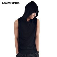 черный хлопок мужчин случайный жилет оптовых-Summer Men Hooded Vest Sleeveless Coon Casual Tank Tops Hip Hop Black White Streetwear 200-050