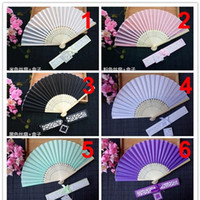 Wholesale wedding invitation card folding for sale - Group buy European Style Originality Fan Gift High Grade Silk Folding Fans With Printing Wedding Favors For Guest sz ff