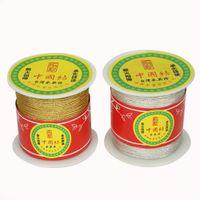 verdrahtete chinesische schmucksachen großhandel-Silber teilt Golddraht chinesischen Knoten Cords Sewing Bekleidung Nähen Stoff Schmuck machen Kunsthandwerk DIY Schmuck 130 / 60Yards 0,5 / 1mm
