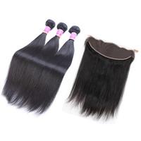 i̇talyan saç örgüsü toptan satış-7A Moğol Bakire Saç Düz Dantel Frontal Ile 3 Demetleri İtalyan Yaki Saç 4 Adet / grup 100% İnsan Saç Örgüleri Braidig Örgü satış