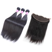 Wholesale yaki human hair sale for sale - Group buy 7A Mongolian Virgin Hair Straight Lace Frontal With Bundles Italian Yaki Hair Pieces Human Hair Weaves Braidig Weave Sales