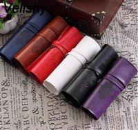 rollengeldbeutel großhandel-Velishy 1 stück frauen vintage rolle leder geldbörse make-up kosmetik stift bleistift pinsel tasche tasche