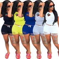 Wholesale t shirts sexy holes - Women Crown Lip Shorts Tracksuit Outfits Short Sleeve T Shirt Tops + Ripped Holes Shorts Pants 2PCS Set Sexy Sportswear Jogger Clothes S-3XL