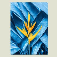 ingrosso fiori gialli pittura astratto-Cactus Abstract Painting Blue Leaf Wall Art Pittura Poster Stampe su tela Fiore giallo Stampe su tela Home Unframed
