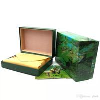 наручные часы оптовых-Бесплатная доставка деревянные часы коробки мужчины подарочная коробка зеленый деревянный Rolex оригинальный часы Box кожа часы Box буклет карты