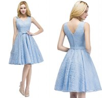 Wholesale light blue short cocktail dresses for sale - Group buy 2018 New Arrival Designer Light Sky Blue Short Lace Cocktail Dresses V Neck Knee Length Graduation Prom Party Gowns CPS916
