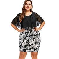 плюс размер пропускает платья оптовых-Плюс Мисс плюс размер 5XL розы печати Bodycon шифон Cape Dress женщины большой размер партии мини короткие платья рабочая одежда офис халат