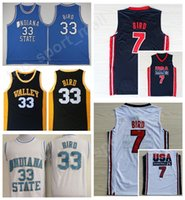 Wholesale dream school - Indiana State Sycamores 33 Larry Bird College Jerseys Springs Valley USA 1992 Dream Team One High School 7 Larry Bird Basketball Jerseys