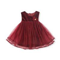 зимние платья для девочек оптовых-Девочки платье Осень Зима дети девушки кружева одежда Рождество свадьба Принцесса платья партии с цветком аппликации 0-4 Т красный