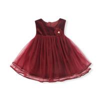 kış bebek kız çiçek elbiseleri toptan satış-Bebek Kız Elbise Sonbahar Kış Çocuk Kız Dantel Elbise Noel Düğün Prenses Parti Elbiseler ile Çiçek Aplikler 0-4 T kırmızı