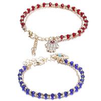 Wholesale glass eyes for jewelry - Fatima Devil's Eye Glass Bead Bracelet New Fashion Lady Jewelry Crystal Bracelet & Bangles For Women Christmas Gifts Free DHL G379S