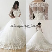 Wholesale Corset Dress Slit - Princess Lace Pearls Wedding Dresses with Sleeves 2018 Plus Size Victoria Lace-up Corset Church Garden Bridal Wedding Gown