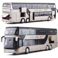 ingrosso autobus per i bambini-1:32 alta simulazione doppio bus turistico modello giocattolo auto lega lampeggiante suono veicolo giocattoli per bambini bambini