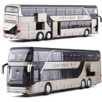 Wholesale toy buses models resale online - 1 High Simulation Double Sightseeing Bus Model Toy Cars Alloy Flashing Sound Vehicle Toys for kids children
