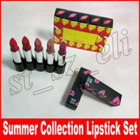 Wholesale lip brand names for sale - Brand makeup Matte Lipstick set colors Lipstick with Name set The Summer Collection Lip kit