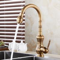 antike bronze hahngriffe großhandel-Küchenarmaturen Antique Brass Bronze Finish Wasserhähne Kitchen Swivel Auslauf Vanity Sink Mixer Klassische Armatur Einhand 1221F