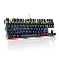 panel led pc al por mayor-Teclado mecánico Teclado retroiluminado LED para juegos con interruptores azules 104 Teclas Panel metálico anti-fantasma 100% para PC Gamers