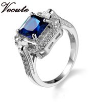 Wholesale Blue Topaz Rings For Women - Luxury Top Quality 18K White Gold Plated Blue Crystal Diamond Ring for Women Wedding Engagement Jewelry Made With SWA Elements Wholesale
