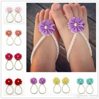 Wholesale barefoot lace sandals - Baby Foot Flower Sandals Simulated Pearl Anklets baby Barefoot Sandals Baby Girls Foot Band Toe Rings Foot ornament KFA21