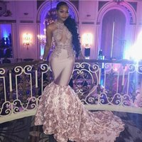Wholesale Open Bust Black Dress - Dusty Pink African Sexy Prom Dresses Long Open Bust flowers Long Train appliques lace Mermaid Evening Dress Black Girls Formal Party Gowns