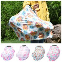 Wholesale cartoon seat covers - 5styles Baby Nursing Cover Infant printed Breast cartoon Feeding Cover Multifunctional Baby Car Swaddling Canopy Seat Cover FFA507 15pcs